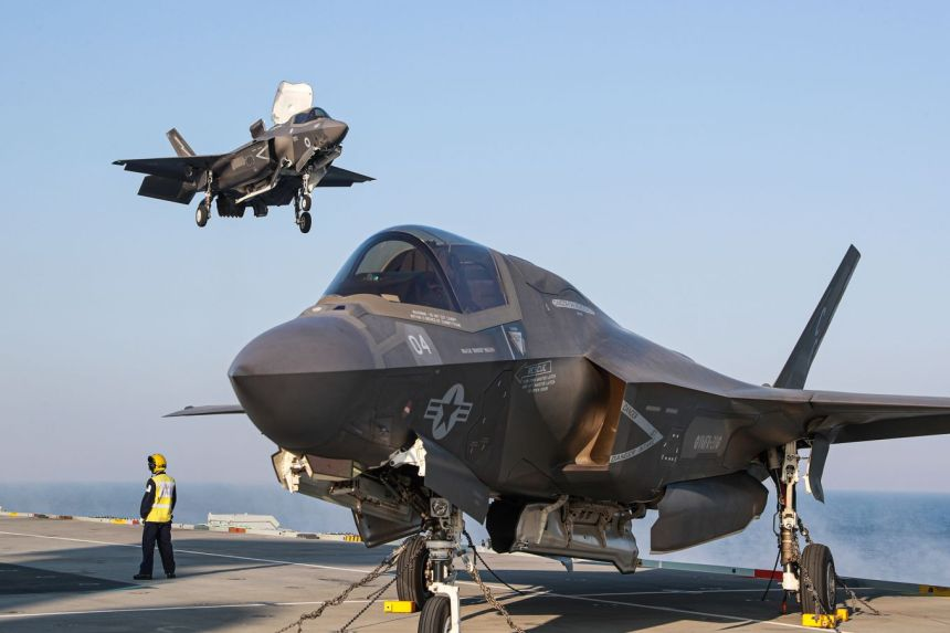 Image shows F35 aircraft on HMS Queen Elizabeth aircraft carrier.