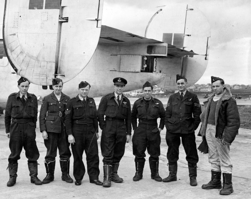 image shows a black and white photo of some of 120 Squadron from 1943.