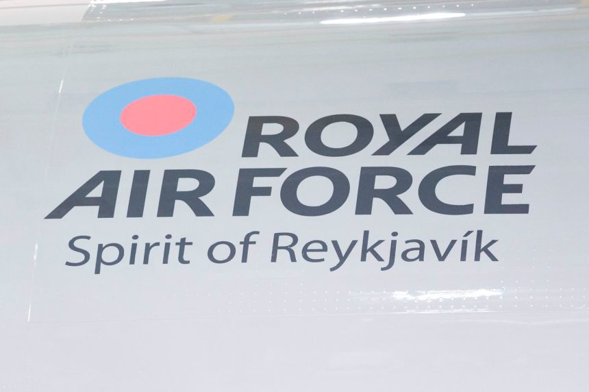 Image shows the name on the side of the aircraft - Spirit of Reykjavik.