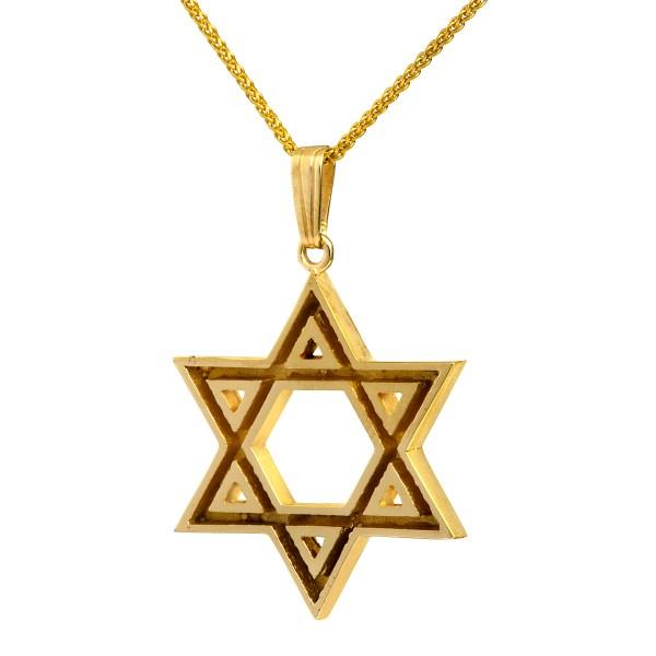14K Yellow Gold Cutout Star Of David Pendant