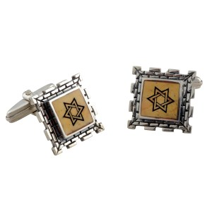 Sterling Silver and Jerusalem Stone Star of David Walls of Jerusalem Cufflinks