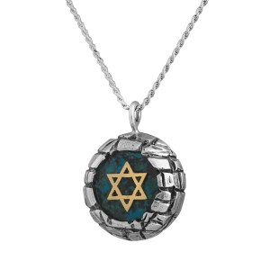 Sterling Silver & Eilat Stone Yellow Gold Star Of David Jerusalem Walls Pendant