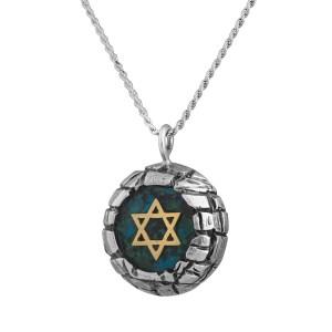 Sterling Silver & Eilat Stone Yellow Gold Star Of David Jerusalem Walls Pendant