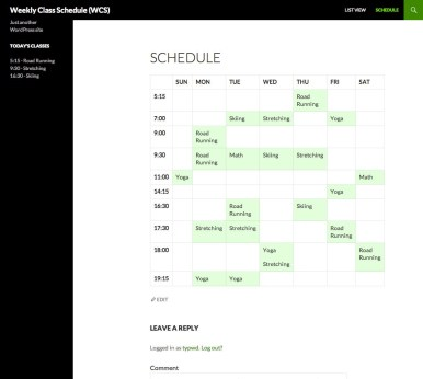 Weekly Class Schedule - Screenshot 3