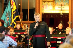 Major Peter Clark, Musical Director enjoys some banter with the audience. Picture by Chris Cox BOCC20150525A-003_C