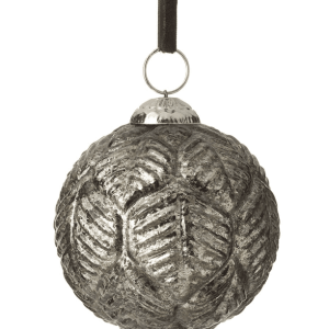 Leafprint Bauble D90mm Glass Sliver