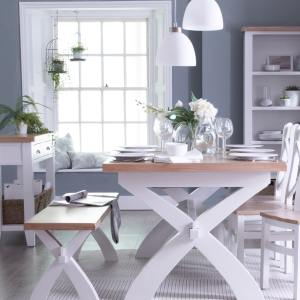 Linen Dining Table 1.8 Metres Extending Crossover