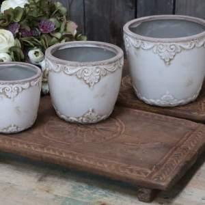 Marcy Flower Pot Antique Cream – H13.5cm
