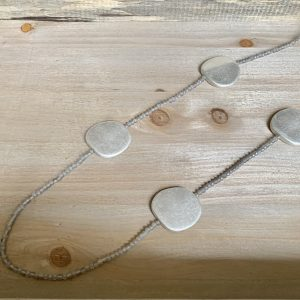 Brushed Disc On Matt Bead Necklace