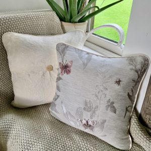Ragdoll Home Butterfly Piped With Button Cushion – Blush/Damson With Crushed Ivory Back