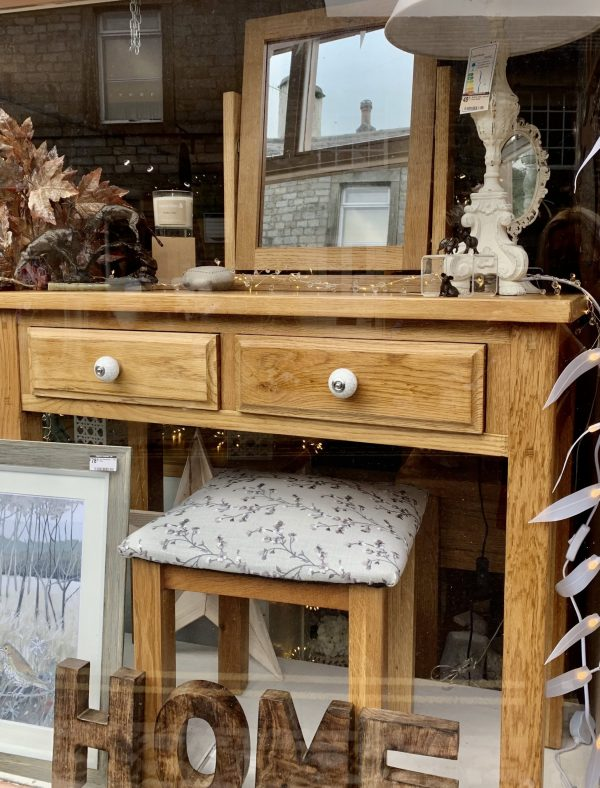Solid Oak Dressing Table with Blossom Stool and Mirror