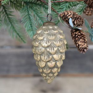 Antique Champagne Christmas Ball – Pine Cone
