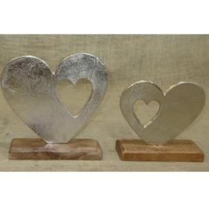Metal Heart On Wooden Stand With Heart Cut Out