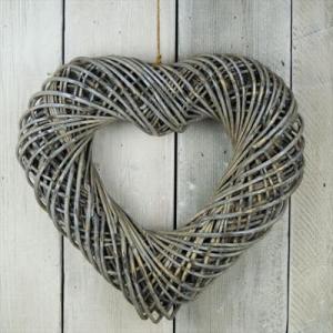 Chunky Heart Shaped Grey Wash Wicker Wreath 52 Cm