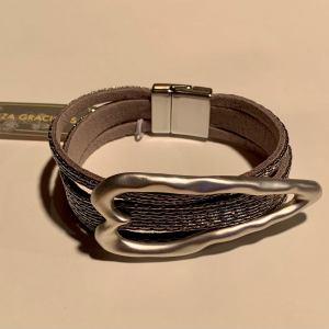 Leather Bracelet With Large Heart – Gunmetal
