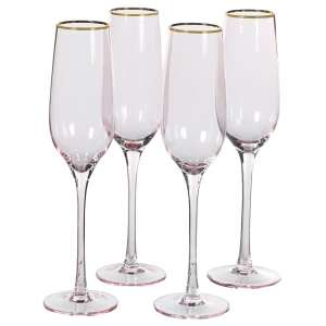 Set Of 4 Pink Tone Champagne Glasses