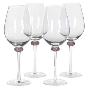 Set Of 4 Pink Gold Diamante Wine Glasses