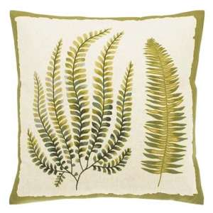 Embroidered Fern Cushion – Feather Fill