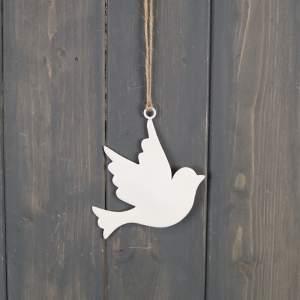White Enamel Hanging Dove (10cm)