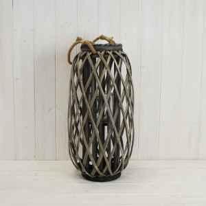 Grey Wicker Lantern 50 Cm