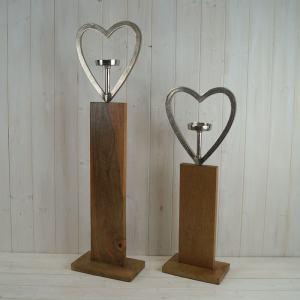 Large Heart Tealight On Wooden Base
