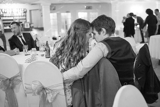 Black and white photo of a couple at wedding reception at Consall Gardens