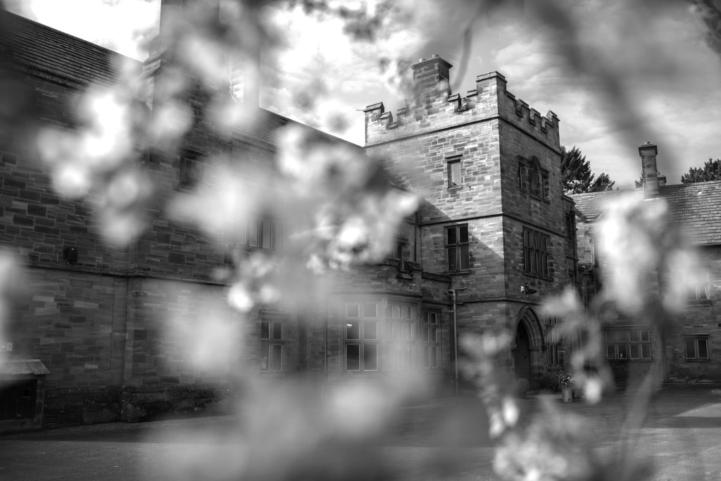 Black and white photograph of Standon Hall