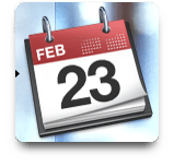Calendar showing February 23