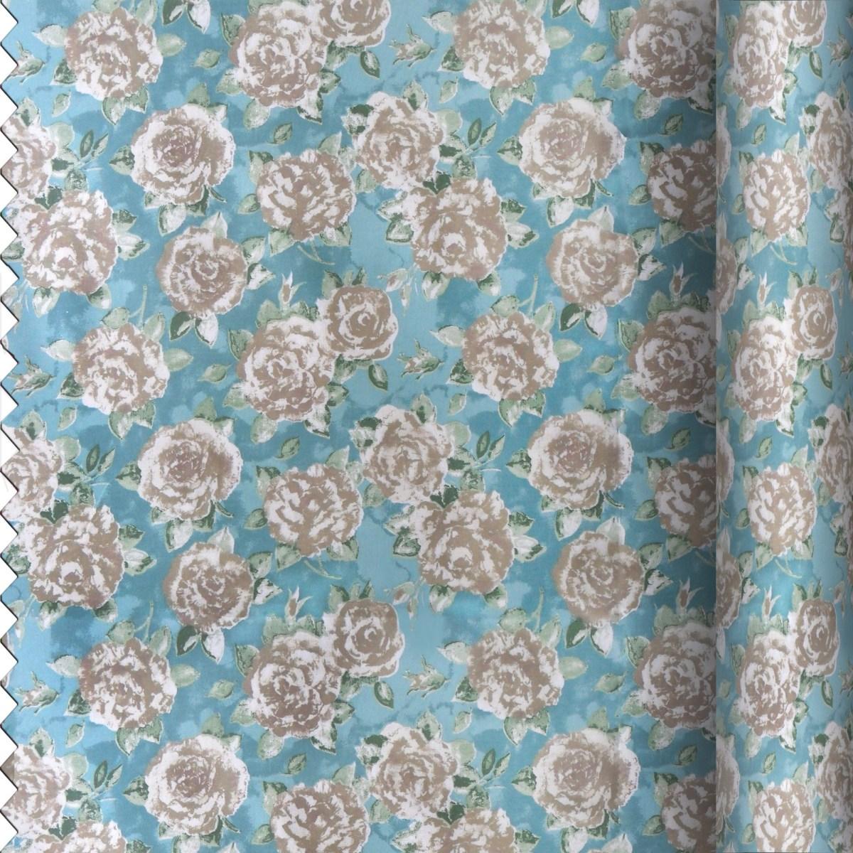 Duck Egg Rose Fabric