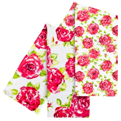 Tracy Tea Towels in White & Pink Rose