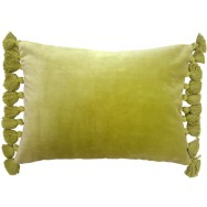 green velvet fringe cushion