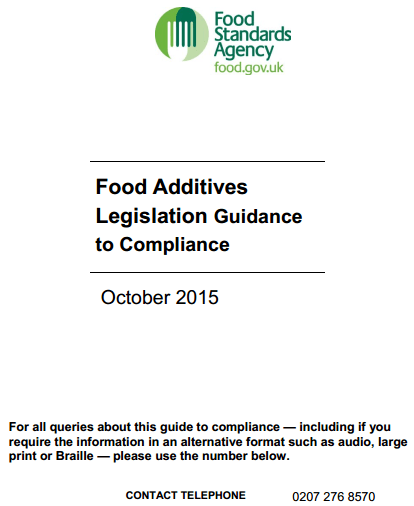Food Additives Guidance to Legislation