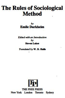 Emile Durkheim The Rules of Sociological Method