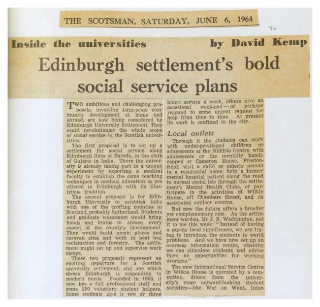 Edinburgh Settlements Social Service Plans