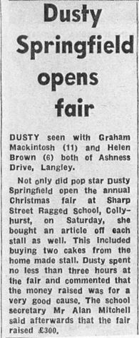 Dusty springfield at Sharp Street Ragged Schools article copy