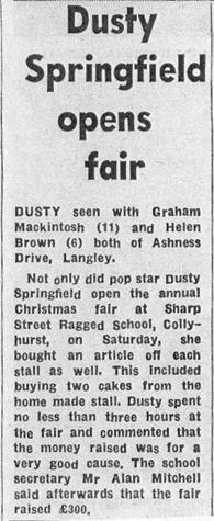 Dusty springfield at Sharp Street Ragged Schools article copy
