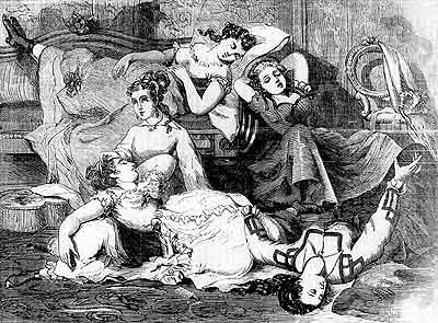 "'Modern methods of intoxication.""A hasheesh party"" in the City of New York: Young ladies ""under the effect"" of a preparation of Indian hemp.' Wood engraving based on a sketch by Joseph B. Beale, the Days' Doings, August 8, 1868, 168."
