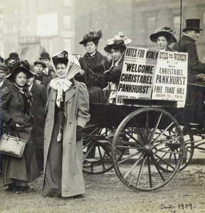 Christabel Pankhurst and Mary Gawthorpe welcomed at Manchester 1907