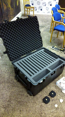 A custom made flycase designed to transport all the equipment on public transport