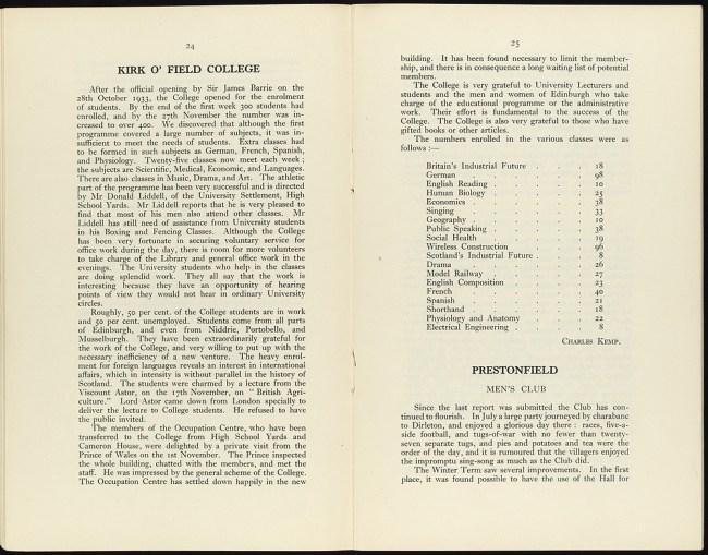 Annual Report of Edinburgh settlement
