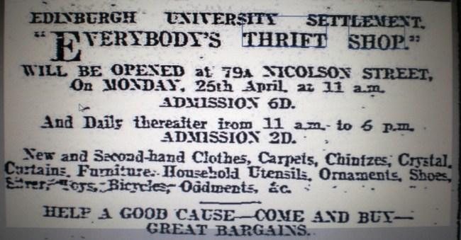 Thrift Shop Advert Edinburgh Settlement