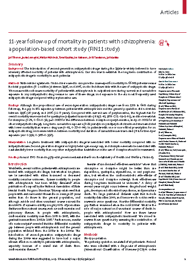 11 year follow up of mortality in patients with schizophrenia a population based cohort study