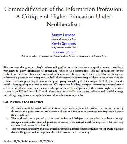Commodification of the Information Profession A Critique of Higher Education Under Neoliberalism by Lawson Sanders and Smith