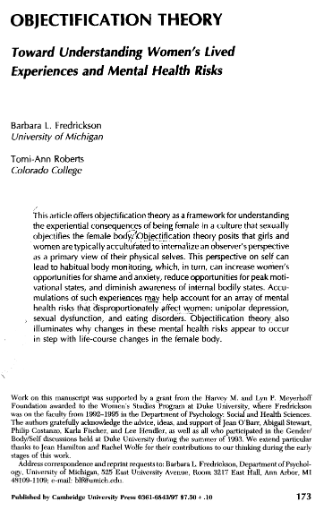 Click to Download: 'Objection Theory Toward Understanding Womens Lived Experiences and Mental Health Risks'