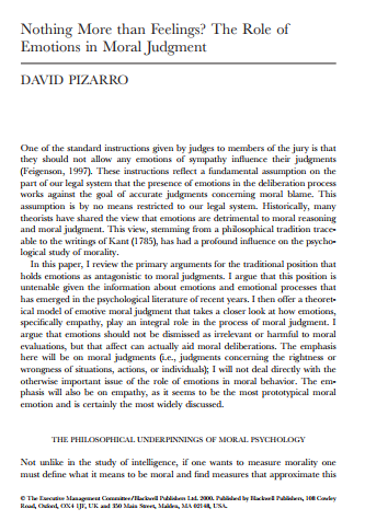 Nothing More than Feelings The Role of Emotions in Moral Judgment