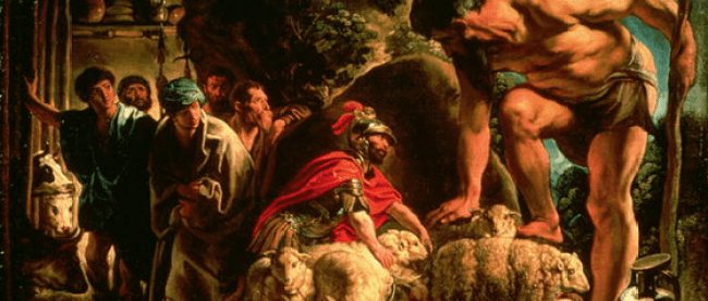 Jacob Jordaens depiction of Odysseus escaping from the cave of Polyphemus (1635)