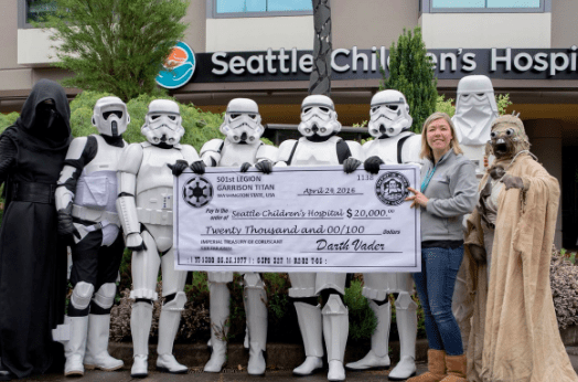 """On our days off from pillaging and raping the known universe we like to get together to raise money for good causes; the death star has a wonderful corporate social responsibility policy"""