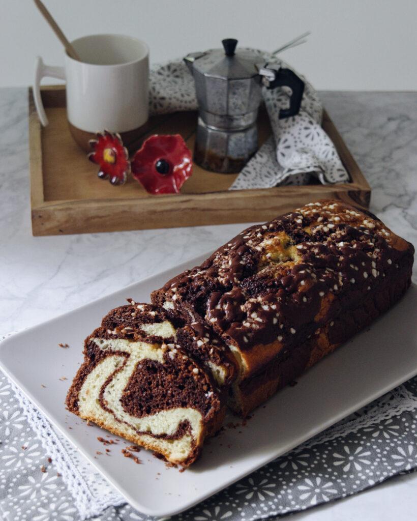 Plumcake marmorizzato al cacao e yogurt, senza burro