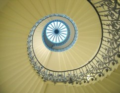 spiral staircase from below, looking up to the light