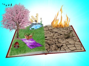 an illustration of an open book with one side showing a desert and burning flames and the other side of the open book showing a beautiful tree blooming, a picnic spread on the grass and a flowing pond to indicate what you focus on is how you things will appear to you - you can start a new beginning regardless of the past if you know how you created the past